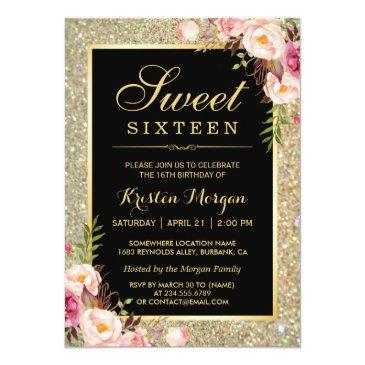 Small Classy Gold Glitter Floral Sweet 16 Birthday Party Invitations Front View