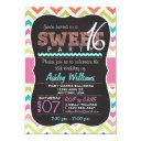 colorful chevron sweet 16 birthday girl invitation