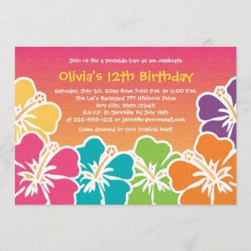 colorful hibiscus birthday invitations any age