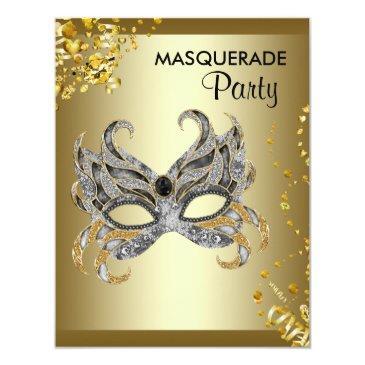 confetti mask silver and gold masquerade party invitation