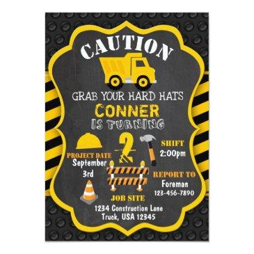 Small Construction Birthday Invitations | Dump Truck Front View