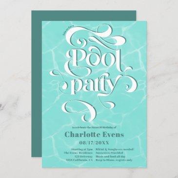 cool pool party water script swirls teal sweet 16 invitation