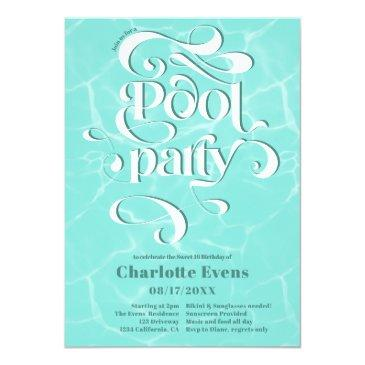 Small Cool Pool Party Water Script Swirls Teal Sweet 16 Invitation Front View