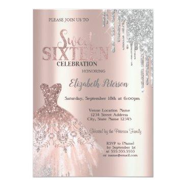 Small Cool Silver Glitter Drips,dress Rose Gold Sweet 16 Invitation Front View