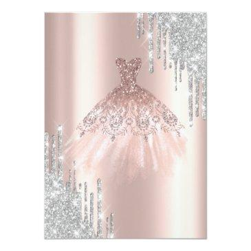 Small Cool Silver Glitter Drips,dress Rose Gold Sweet 16 Invitation Back View
