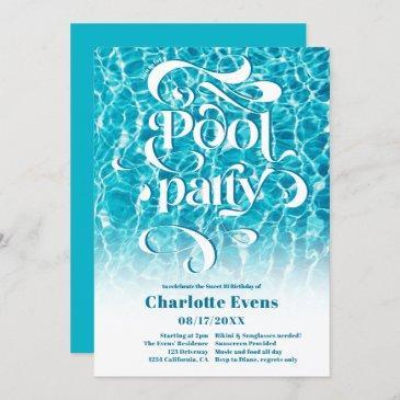 cool water pool party script swirls teal sweet 16 invitation