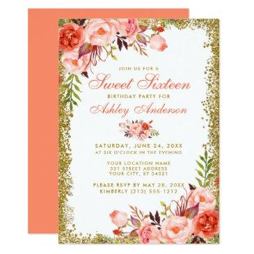 coral floral sweet 16 gold glitter birthday invite