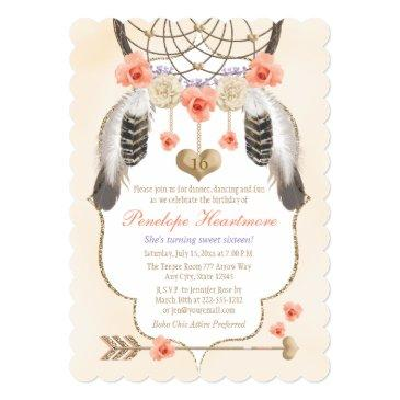 coral gold lavender dreamcatcher boho birthday invitation