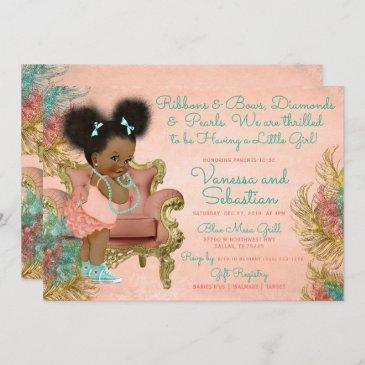 coral gold mint green ribbons bows diamonds pearl invitation