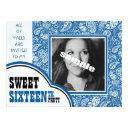country blue paisley girl photo sweet 16th party invitation
