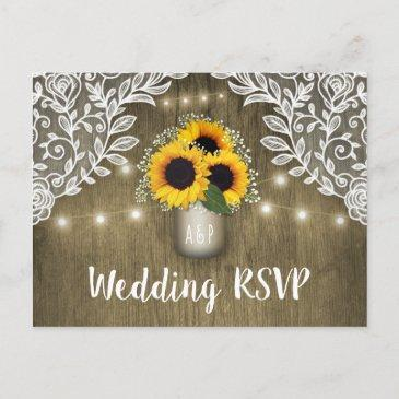 country sunflower mason jar wedding rsvp post