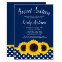 country sunflower navy blue sweet 16 invitations