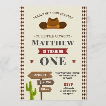 cowboy western saloon 1st baby boy wild birthday invitation