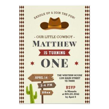 Small Cowboy Western Saloon 1st Baby Boy Wild Birthday Invitation Front View