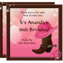 cowgirl 16th birthday party boot scottin custom invitation