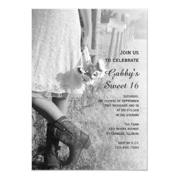 cowgirl sunflowers country western sweet 16 party invitation