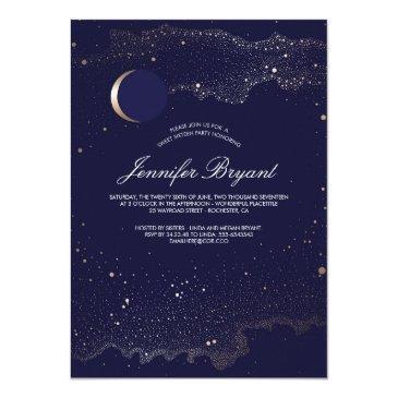 crescent moon and night stars sweet 16 invitations