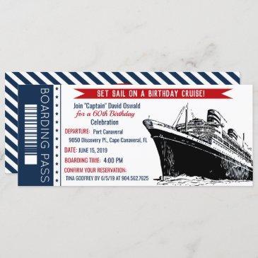 cruise ship boarding pass birthday invitation