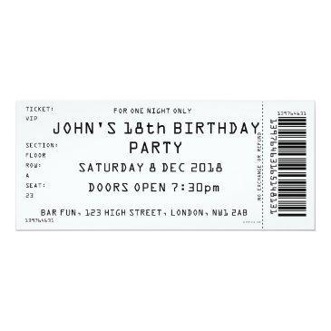 custom color concert ticket party invitation