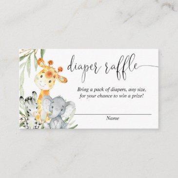 cute animals gender neutral diaper raffle invitations