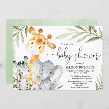 cute animals gender neutral safari baby shower invitation