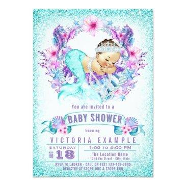 Small Cute Baby Mermaid Baby Shower Invitations Front View