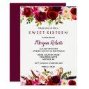 cute burgundy red floral sweet 16 party invite