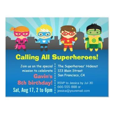 cute colourful superhero birthday party