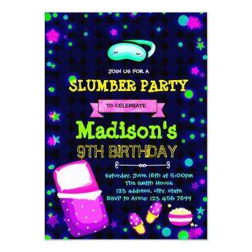 cute glow slumber birthday party invitation