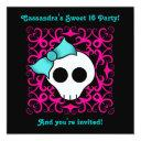 cute gothic skull sweet 16 birthday party invitation