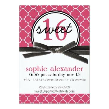 Small Cute Hot Pink Sweet 16 Party Invitations Front View