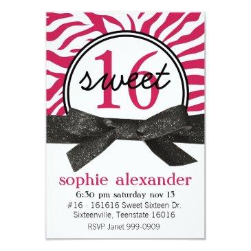 cute hot pink zebra pattern sweet 16 party invitation