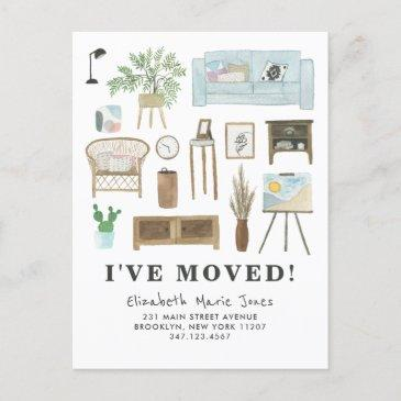 cute i've moved boho watercolor home decor moving announcement postinvitations