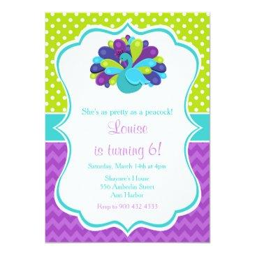 cute peacock green and purple invitations