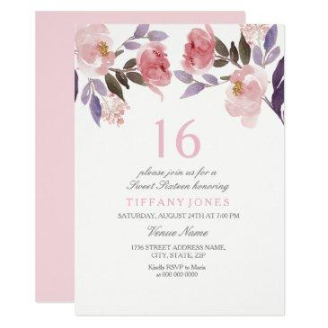 cute pink floral watercolor sweet 16 birthday invitation