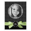 cute polka dots photo sweet 16 lime green ribbon invitation