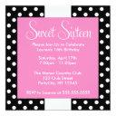 cute polka dots sweet sixteen birthday invitation