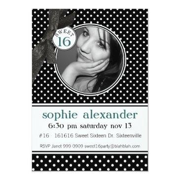 Small Cute Polkadot Pattern Sweet 16 Party Invitations Front View