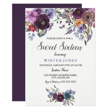 cute purple floral winter sweet sixteen invite