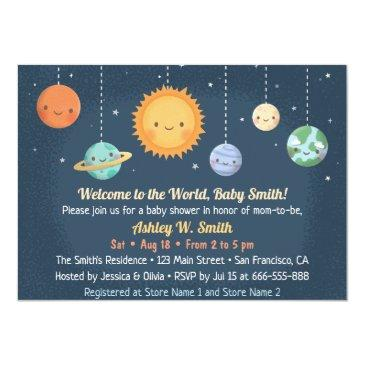 Small Cute Sun And Planets Space Baby Shower Invitation Front View
