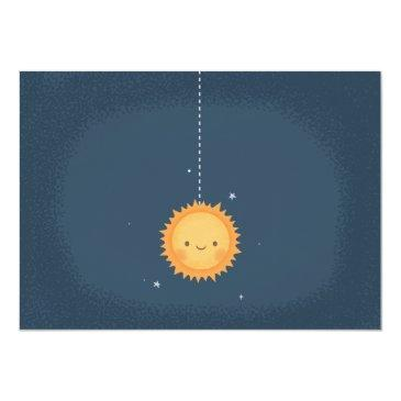 Small Cute Sun And Planets Space Baby Shower Invitation Back View