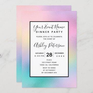 cute unicorn rainbow foil holographic chic pastel invitation