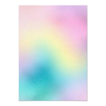 Small Cute Unicorn Rainbow Foil Holographic Chic Pastel Invitation Back View