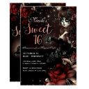 day of the dead girl black red sweet 16 party invitation