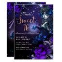 day of the dead girl purple blue sweet 16 party invitation