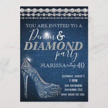 denim and diamond birthday party, elegant, heels invitation