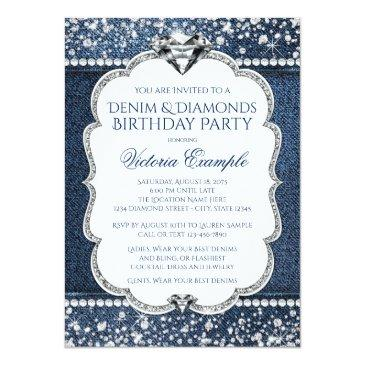 Small Denim And Diamond Bling Birthday Party Invitations Front View