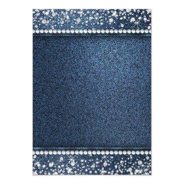 Small Denim And Diamond Bling Birthday Party Invitations Back View