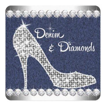 Small Denim And Diamonds Birthday Party Invitations Front View
