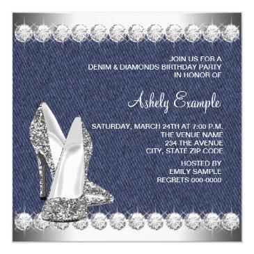 Small Denim And Diamonds Birthday Party Invitations Back View
